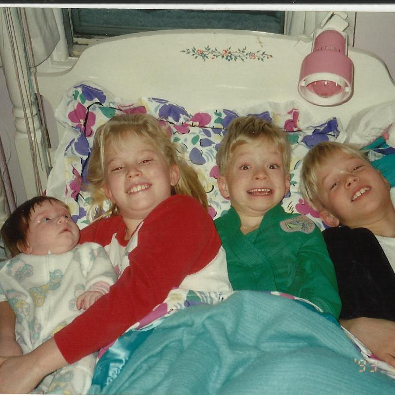 The four kids growing up. The order goes left to right; Katie, Angie, myself, and Ryan.